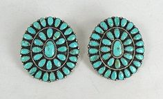 Authentic Vintage Native American Navajo Sterling Silver and Turquoise Cluster Post Earrings