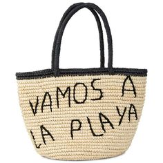 Sensi Studio Vamos Ala Playa Medium Tote ($255) ❤ liked on Polyvore featuring bags, handbags, tote bags, beach bag, white tote bag, white beach tote, evening handbags, beach tote bags and beach purse