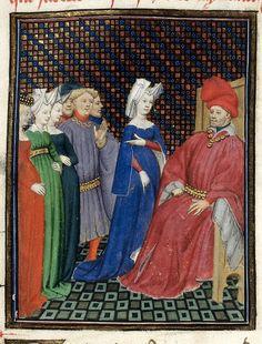 Harley 4431 christine de pisan presents three pairs of lovers to Jean de Werchin, Seneschal of Hainault, in 'Le Livre des iii jugements'.