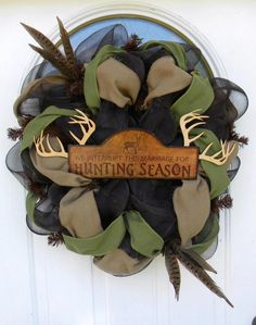 "My next project. I bought an antler ""c"" from hobby lobby and want to put it in the center of this burlap wreath!"