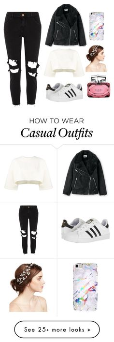 """""""Dance casual look"""" by rowena-diadem on Polyvore featuring Puma, River Island, adidas, Jennifer Behr and Gucci"""
