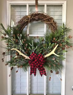 Faux Deer Wreath Love this cute winter wreath for the front porch, door or patio. Adorable seasonal decor. Perfect for after Christmas. #wreath #winter #afflink