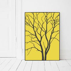 Scandinavian Yellow and Grey Tree Print by AngelinasArtShop