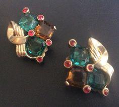 RARE Unsigned Crown Trifari Alfred Philippe Clip Earrings Rhinestone W429 | eBay