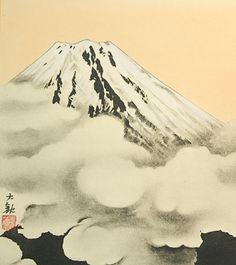 Japanese Shikishi Art Print – Mt Fuji Clouds Fujisan | Japan Vintage Art Blog