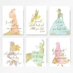 Disney, princess, Ariel, Set of 6, Princess Nursery, Disney, Baby shower, Disney quotes, the little mermaid, Elsa, Frozen, Cinderella, TINK