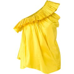 Marques'almeida ruffled trim top (3.235 HRK) ❤ liked on Polyvore featuring tops, yellow, frill top, flutter-sleeve top, yellow ruffle top, flounce tops and frilly tops