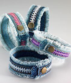 best 25 denim bracelet ideas on diy bracelets Bracelet Denim, Fabric Bracelets, Fabric Jewelry, Zipper Bracelet, Jean Crafts, Denim Crafts, Upcycled Crafts, Repurposed, Denim Armband