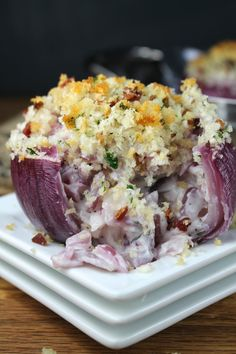 Creamy Roasted Red Onions.....filled with seasoned cream cheese, sour cream and chopped onions; topped with bread crumbs and crumbled bacon.
