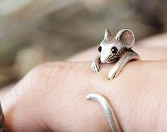 Maus Ring Womens Mädchen Retro bronziert Ratte Tier Ring Schmuck einstellbar gratis Wrap Ring schwarz Quarze Geschenkidee Silber oder Gold Tone