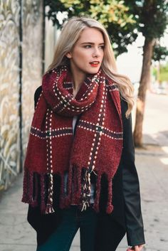 chunky plaid blanket scarf leto wholesale women wrap scarves accessories fall winter must have