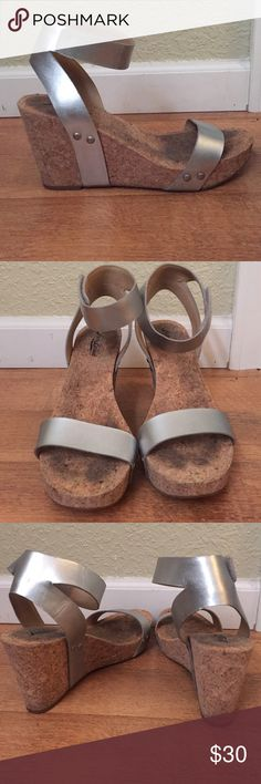 Lucky brand wedge Metallic silver cork wedge Lucky Brand Shoes Wedges