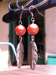 Boucles d'oreille perle plume argent