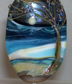 WSTGA~WIND SWEPT GOLDEN TREE~SEA MOON handmade lampwork focal glass bead SRA  By Molly Cooley