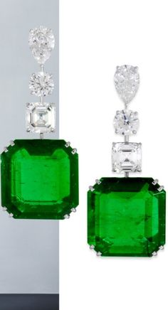 Diamonds and emeralds by Graff Vanessa Duell earrings