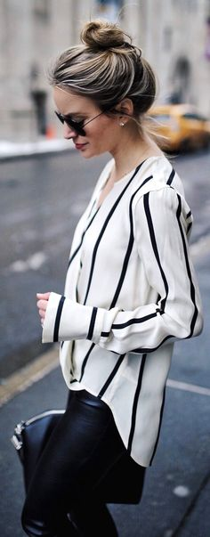 perfect spring outfit ideas / White Striped Blouse / Black Leather Pants / Black Leather Tote Bag