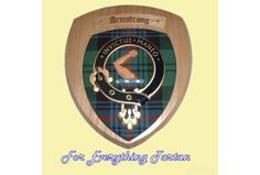 Clan Armstrong Tartan Woodcarver Wooden Wall Plaque Armstrong Crest 7 x 8