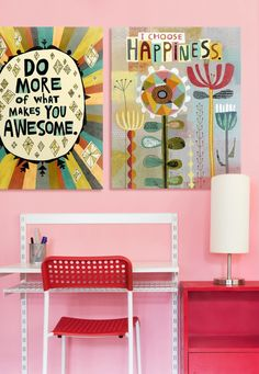 Bring bright and cheery into your daughter's room with two bold quotation canvases by Richard Faust. Many of Richard Faust's finished works begin as doodles from his journal. He likes to get ideas from weird and wonderful junk because it reminds him not to take his work too seriously.