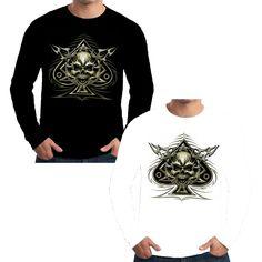 Velocitee Mens Long Sleeve T Shirt Ace of Spades Skull Biker Motorcycle W12053 #Velocitee