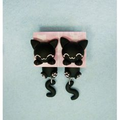 Black Cat Clinging Ears clinging ears,cuelga orejas,gato,cat,pendientes, earrings,