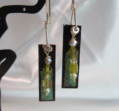 copper and beaded earrings  one of kind by dhicksdesigns on Etsy