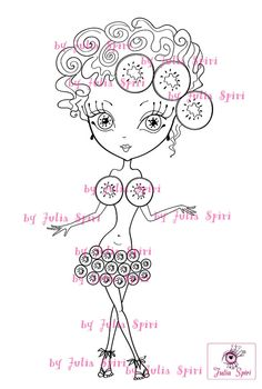 Digital Stamps Digi stamp Coloring pages Girl stamps by JuliaSpiri