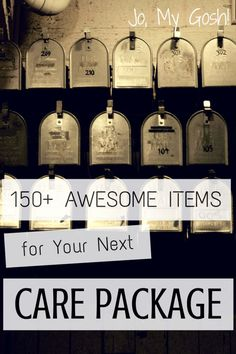 Printable list with over 150 items for care packages. Pin now, use later!  (not bad for gift ideas, either)