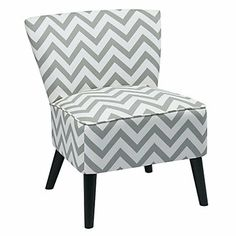 Apollo Flared Leg Side Chair in Fabric // Trendy seating for home office // Gray and white patterned guest chair