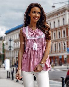 Ružová dámska blúzka vo veľkosti UNI, vhodné pre S, M Uni, Modeling, Shoulder, Tops, Women, Fashion, Moda, Modeling Photography, Fashion Styles