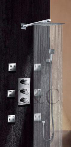 Ultra - fino 8 polegada de chuveiro Spa Massage Body Spray Jet termostática torneira do chuveiro do banheiro 007-8-2T alishoppbrasil
