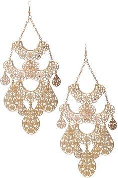 Chandelier Statement Gold Earrings - KocoSky