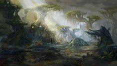 Nazmir Art from World of Warcraft: Battle for Azeroth #art #artwork #videogames #gameart #conceptart #illustration #worldofwarcraft #battleforazeroth #wow #environmentdesign World Of Warcraft, Warcraft Art, Wow Battle, Fantasy Art Landscapes, New Fantasy, Last Game, Environment Design, Game Environment, Fantasy Illustration