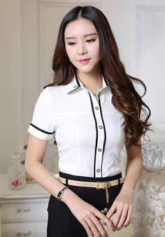 Formal elegante blanco de verano de manga moda blusas camisetas mujeres Blusa To New Mode, Uniform Shirts, Plus Size Shirts, Formal Shirts, Work Attire, Blouse Styles, Shirt Blouses, Fashion Outfits, Fashion Blouses