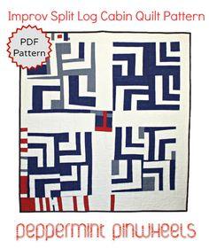 PDF Quilt Pattern. Improvisational Split Log Cabin Quilt Pattern by Peppermint Pinwheels