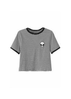 Alien Striped Ringer T-Shirt | Attitude Clothing
