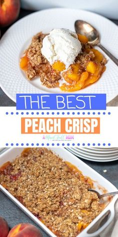 This super simple recipe for Peach Crisp is made with fresh peaches and a buttery, crispy oat topping, for the ultimate peach dessert. Peach Oatmeal Crisp, Easy Peach Crisp, Apple Crisp, Can Peaches Recipes, Fresh Peach Recipes, Summer Recipes, Peach Cobbler Crumble, Oatmeal Crumble Topping, Fruit Crisp Recipe