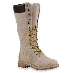 DAMEN SCHUHE 124658 STIEFEL CREME 36 - http://on-line-kaufen.de/stiefelparadies/36-damen-stiefel-worker-boots-profilsohle