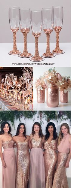 Personalized glasses rose gold Champagne flutes wedding toasting glasses Flutes rose gold wedding toasting flutes Set of 2 Bridesmaid All completely handmade! MEASUREMENTS: -Champagne flutes : Height - 9 inch (22 sm). Volume – 170ml (6.1 oz) Custom champagne glasses may be created to fit your needs. Your unique wedding colors can be used for this design. Names and date may be painted to customize to your occasion. Customizations are included in the price. Glasses will be carefully packed…