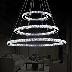 LED Hanging Crystal Circle Pendant Light