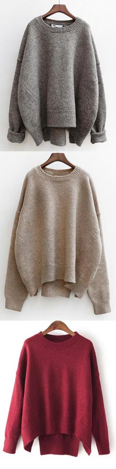 Take easy with this casual sweater, three colors. The Easy Day Sweater features slits at back and drop shoulder design. Shop all new winter arrivals at CUPSHE.COM !