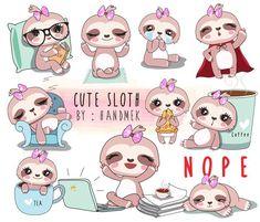 1 Clipart, Cute Clipart, Cute Baby Sloths, Cute Sloth, Kawaii Drawings, Cute Drawings, Sloth Drawing, Cute Kawaii Animals, Kawaii Doodles