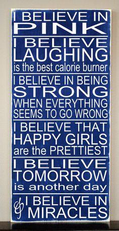 I Believe in Pink Audrey Hepburn Subway Art by HDVinylDesigns, $32.00