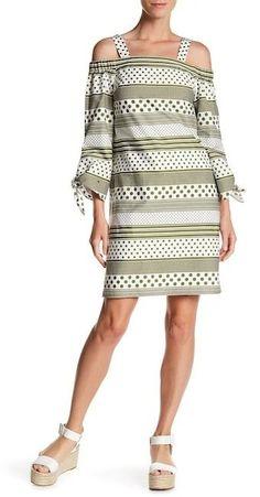 Nine West Cold Shoulder Printed Dress