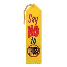 """Pack of 6 Yellow Say No To Drug Award"""" School Award Ribbon Bookmarks 8"""""""