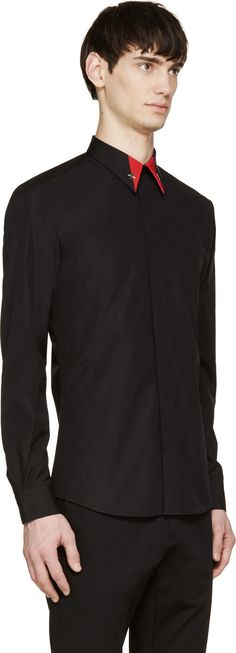 Givenchy Black Poplin Star Shirt