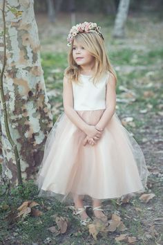 Satin and tulle champagne flower girl dress by KidsDreamDresses