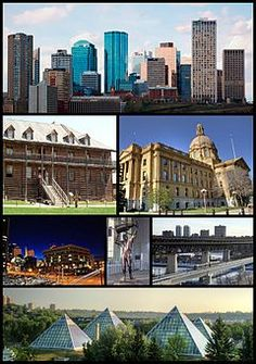 From top left: Downtown Edmonton, Fort Edmonton Park, Legislature Building, Law Courts, Rogers Place, High Level Bridge, Muttart Conservatory