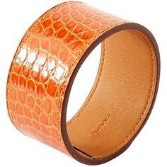 Pre-owned Hermès Alligator Bracelet (17,115 MXN) ❤ liked on Polyvore featuring jewelry, bracelets, orange, women jewellery bracelets, orange bangles, pre owned jewelry, hermes bangle, alligator jewelry and hermes jewelry