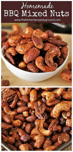 Barbecue Roasted Mixed Nuts ~ Easy to make and chock full of spicy-sweet barbecue flavor.  So good, you won't be able to stop at a handful!  www.thekitchenismyplayground.com