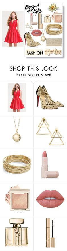 """Red Party Dress"" by miamorjensin on Polyvore featuring Alyce Paris, Christian Louboutin, John Lewis, Blue Nile, INC International Concepts, Design Lab, Lipstick Queen, Lime Crime, Gucci and Stila"
